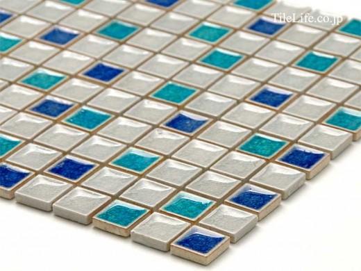 モザイクタイル 25角平 ブルーホワイトアイス