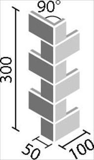 リクシル(INAX) 役物タイル HALALLシリーズ プレリュード 90°曲ネット張り[岩肌面](馬踏目地) HAL-255/90-14/PIW-1