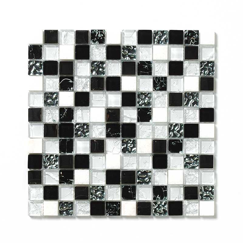 ガラス&大理石ミックスモザイク ウルトラクリア&スタンダードグラス 23角